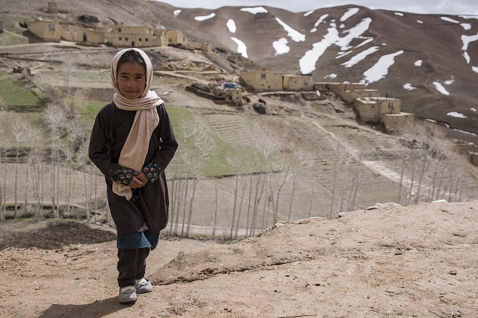 schoolgirl in Afghanistan mountains