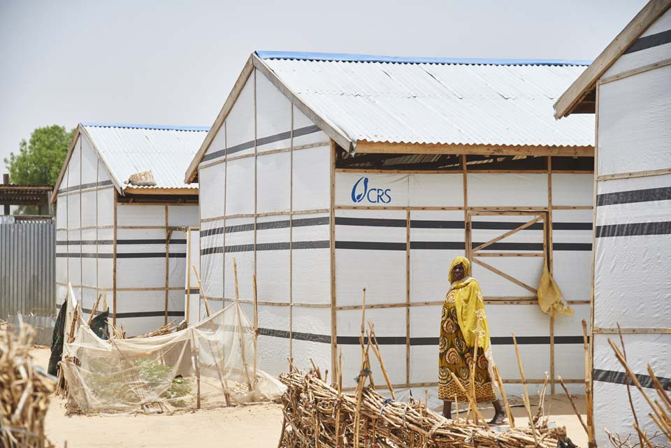 shelters in Nigerian displaced persons camp