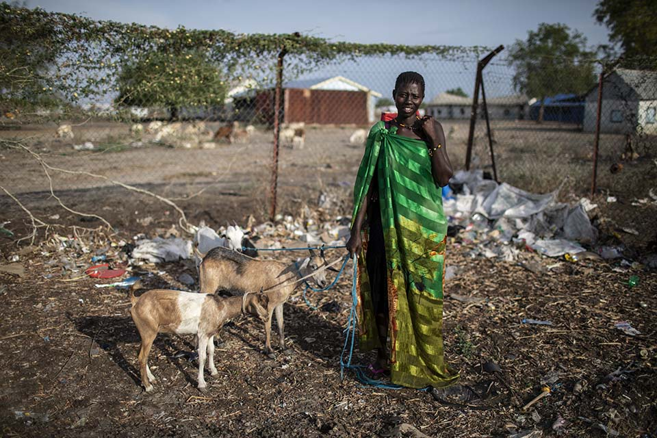 South Sudanese woman tending her goats