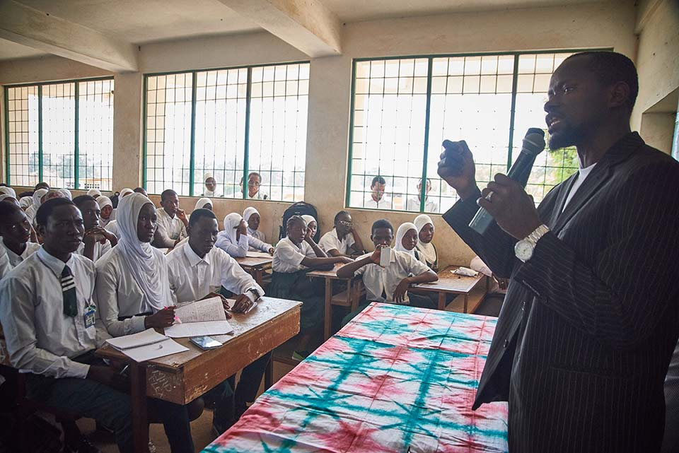 speaker addresses class in The Gambia