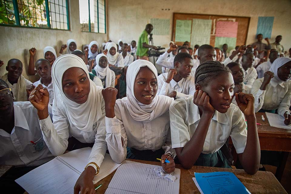 students in Gambian classroom