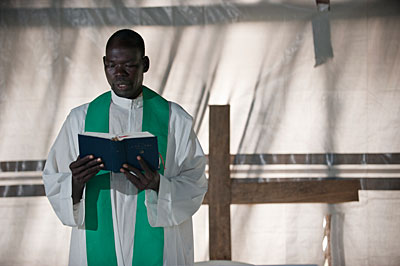 Father Joseph Otto of St. Theresa Parish in Magwi, South Sudan, says Mass every day even if no one attends. Photo by Karen Kasmauski for CRS