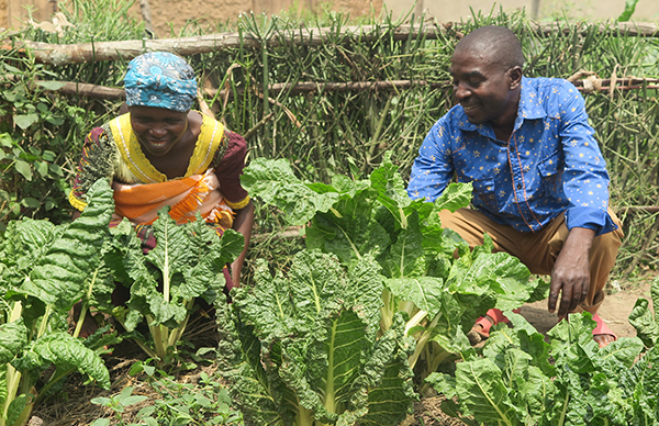 tending a garden in Rwanda