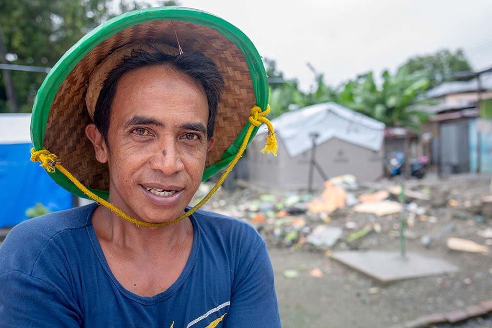 tsunami survivors outside a shelter