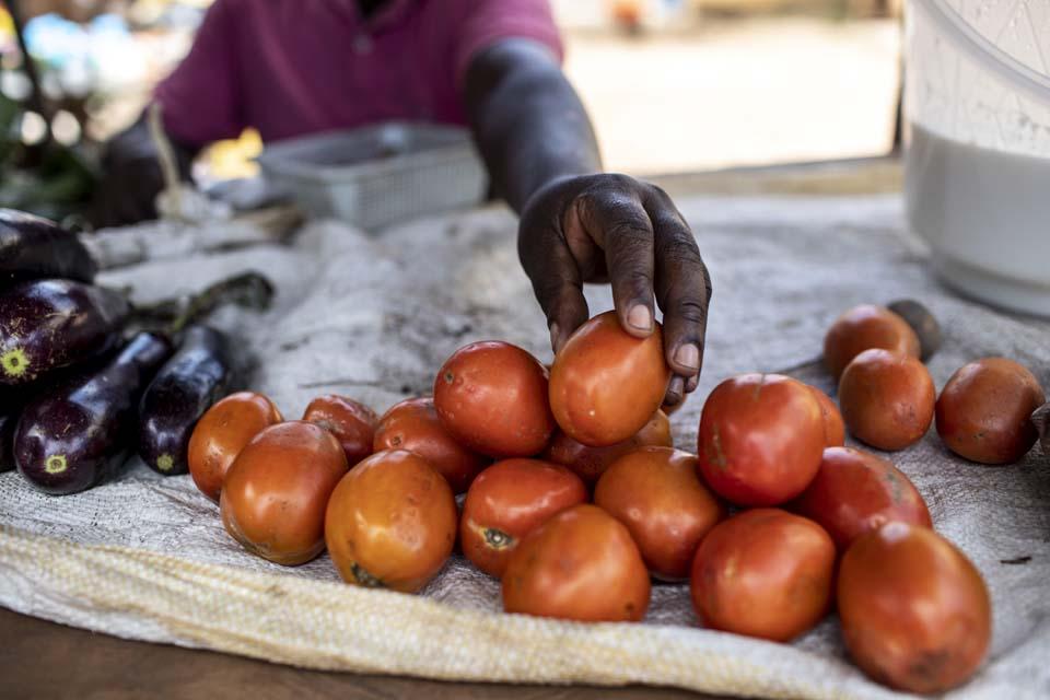 vegetable stand in Uganda