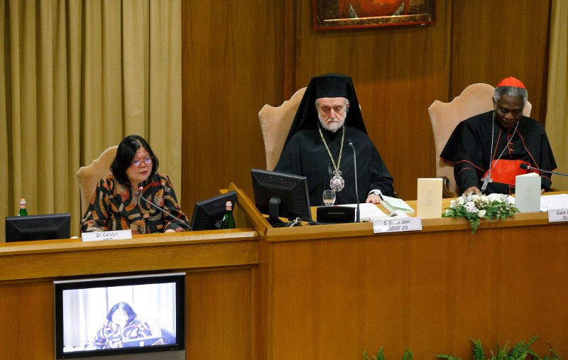 """Carolyn Y. Woo, president and CEO of Catholic Relief Services, speaks at the Vatican about """"Laudato Si'."""" Photo courtesy of Paul Harring/CNS"""