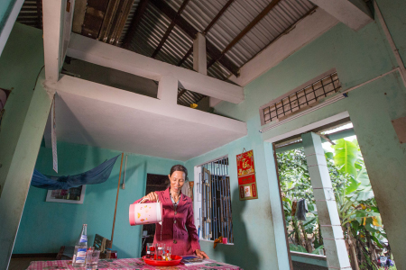 Phuoc and her 84-year-old mother now have an improved quality of life thanks to a fortified mezzanine section of their home they share in the coastal Quang Nam province.