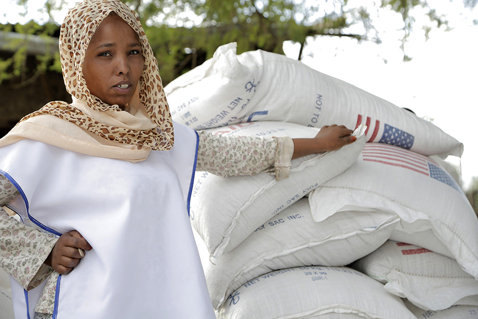 woman in Ethiopia during food distribution