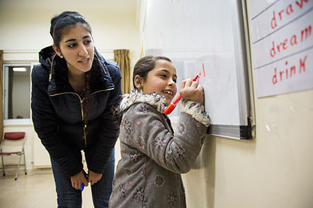 Your donation to Syrian refugees supports classes for refugee children as part of the Educational and Protection for Syrian Refugees Project. Photo by Oscar Durand for CRS