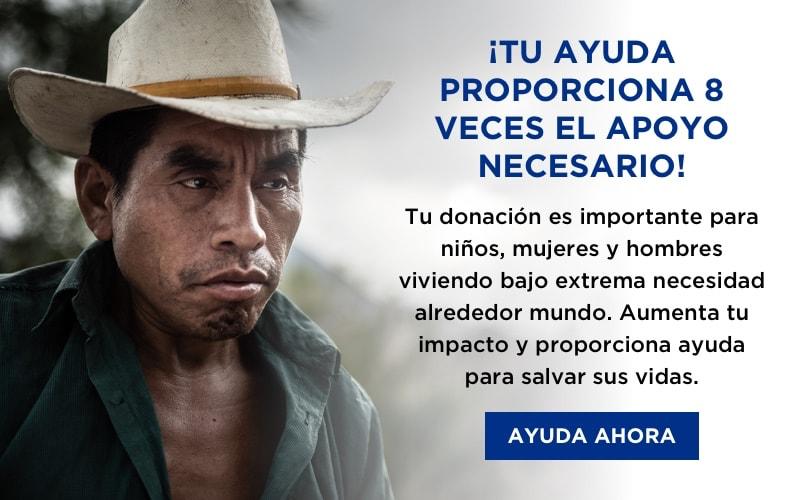 ¡Tu ayuda proporciona 8 veces el apoyo necesario! ¡Ayuda ahora!