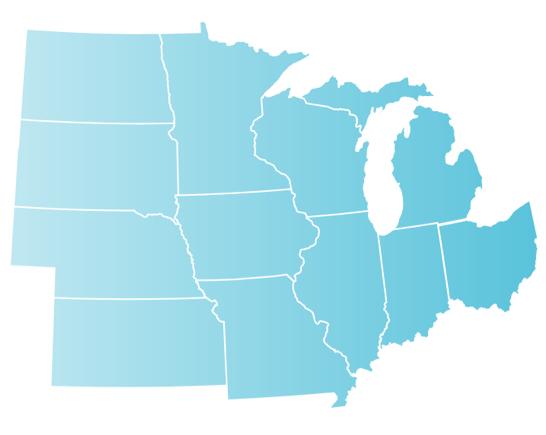 Map of llinois, Indiana, Iowa, Kansas, Michigan, Minnesota, Missouri, Nebraska, North Dakota, Ohio and Wisconsin.