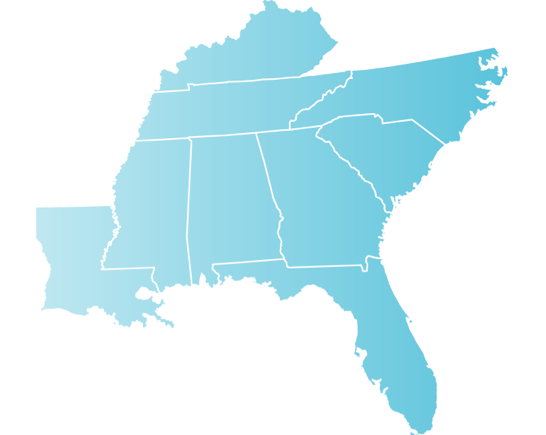 Map of Alabama, Florida, Georgia, Kentucky, Louisiana, Mississippi, North Carolina, South Carolina, Tennessee and U.S. Virgin Islands.