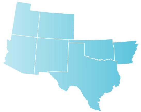 Map of Arizona, Arkansas, Colorado, New Mexico, Oklahoma, Texas, Wyoming and Utah