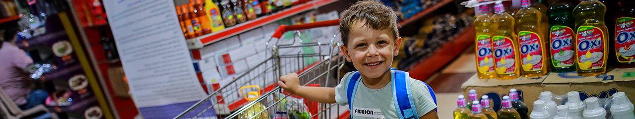 Gaza boy in grocery store
