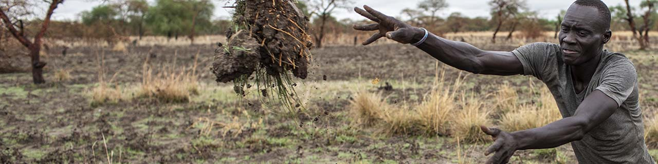 South Sudanese road crew member tossing debris