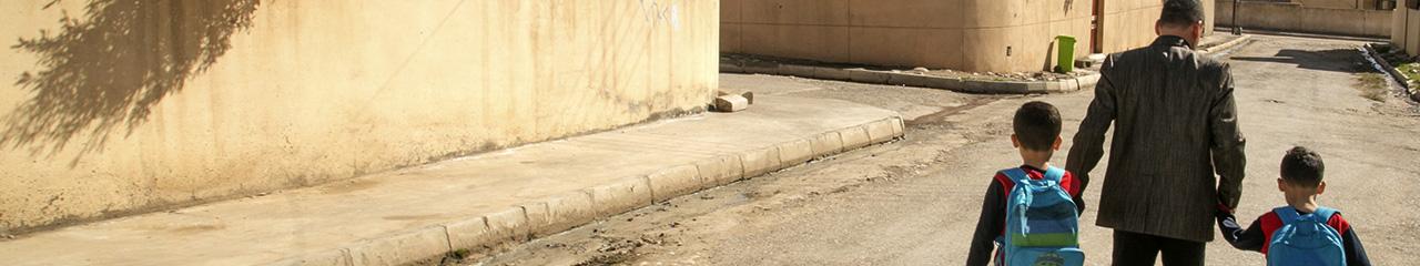 walk to school in Iraq