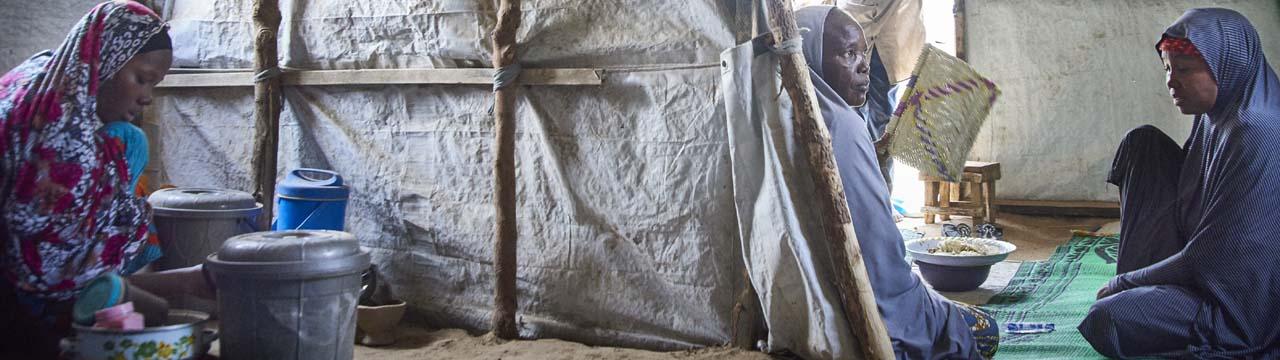 women inside Nigeria shelter