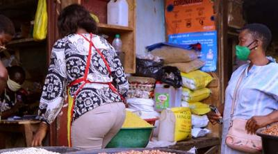 women at a store in Cameroon