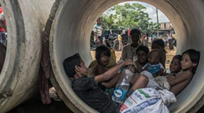 myanmar refugees shelter in culverts in Bangladesh