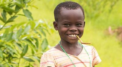 Young girl smiling in Uganda