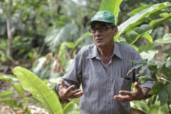 For the last 30 years, Victor Zambrano has reforested land, planting more than 120 species of trees in about an 84-acre area in Peru. Photo by Oscar Leiva/Silverlight for CRS