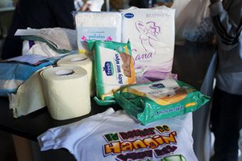 CRS and Caritas have organized distributions of bottled water and hygiene kits including soap, shampoo, sanitary supplies, toothbrushes, toothpaste, diapers and baby clothes. Photo by Kira Horvath for CRS