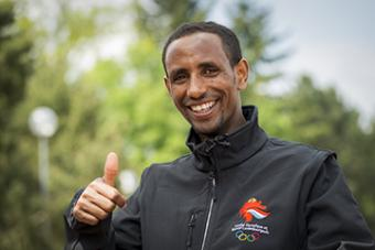 <b>Yonas Kinde<br />Sport:</b> Men's Track and Field (marathon)<br /><b>Native Country:</b> Ethiopia<br /><b>Host Country:</b> Luxomborg<br />Photo by IOC/Claire Thomas