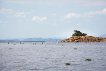 Decreased water levels due to the drought have allowed land to rise to the surface on Lake Kariba. This can be dangerous for boaters. Photo by Elie Gardner for CRS