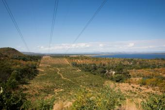 Power lines near Kariba Dam carry energy from the dam throughout Zimbabwe. Photo by Elie Gardner for CRS