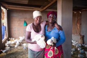 These women are part of a group raising chickens. Chickens can survive during drought. Photo by Elie Gardner for CRS