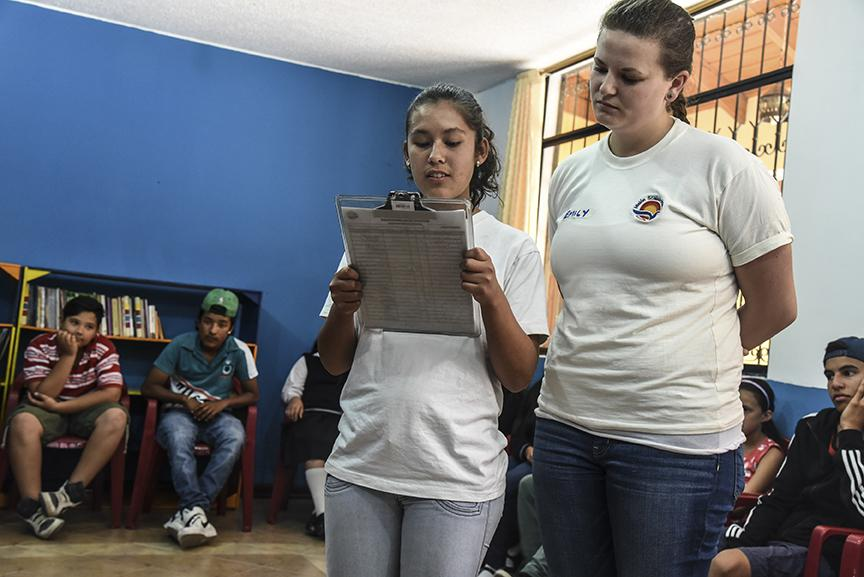 The Scalabrini Mission youth program promotes peace between Ecuadorian and Colombian youth. Participants meet about two times a month, working on self-esteem, nonviolence, solidarity and friendship. Photo by Ryla Simmons/CRS