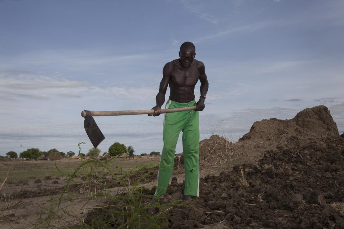 A man tills his land in preparation for planting in South Sudan. Farmers have learned new techniques to mitigate the root causes of hunger while incorporating disaster risk reduction into their practices. Photo by Sara Fajardo/CRS