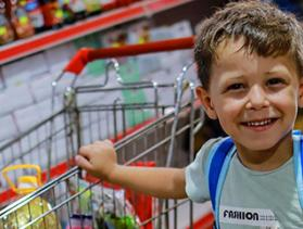 Gaza boy in grocery store