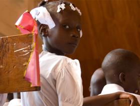 A mass baptism at the cathedral in Gonaives, Haiti. These kids were supposed to be baptized the day that Hurricane Ike struck the city.David Snyder for CRS