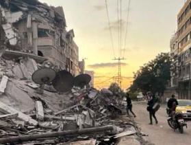 destruction and rubble in Gaza