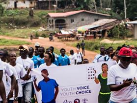 liberia youth march to urge peaceful elections