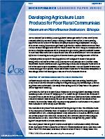 Developing Agriculture Loan Products for Poor Rural Communities