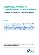 A Sustainable Approach To Community-Based Savings in Rwanda